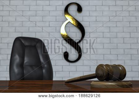A gavel in a courtroom (3d rendering)