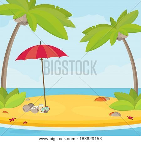 Summer holidays vector illustrationflat design beach and parasol concept