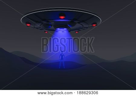 a unidentified flying object sends a beam(3d rendering)