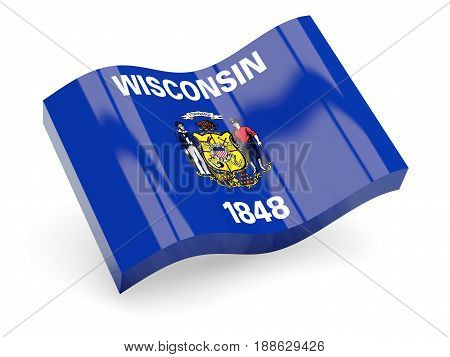 Flag Of Wisconsin, Us State Wave Icon