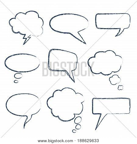 Collection blank template comic text speech bubble Dialog empty icloud, space box pop art. Creative idea conversation white comic book balloon sketch explosion