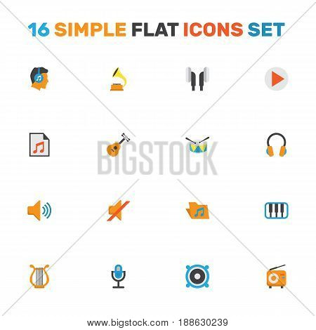 Audio Flat Icons Set. Collection Of Button, Band, Portfolio Elements. Also Includes Symbols Such As Listen, Headphone, Philharmonic.