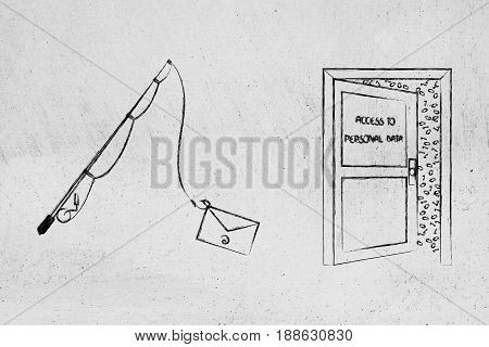 Fishing Rod With Email Instead Of Bait Next To Data Access Door, Concept Of Phishing