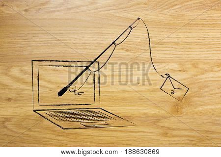 Fishing Rod With Email Instead Of Bait Coming Out Of A Laptop Screen, Concept Of Phishing