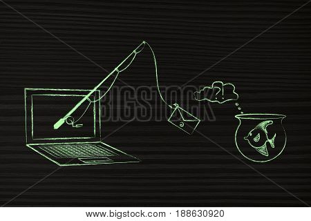 Fishing Rod With Email Bait Out Of Laptop Approaching A Fish In A Bowl, Phishing Concept