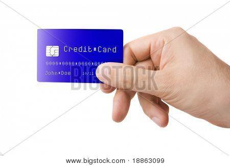 Männliche Hand, die mit Kreditkarte, isolated on white