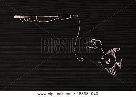 Fishing Rod Approaching Doubtful Fish