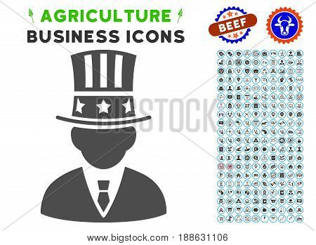 Capitalist gray icon with agriculture business icon clipart. Vector illustration style is a flat iconic symbol. Agriculture icons are rounded with blue circles.