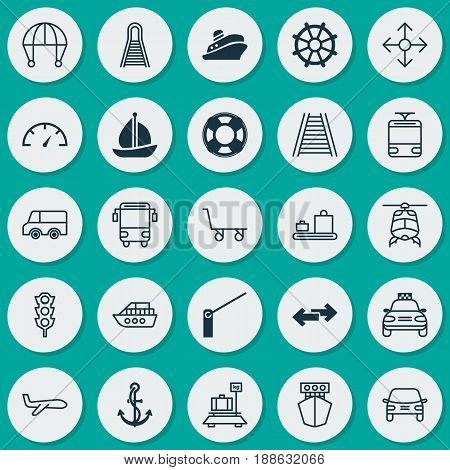 Transport Icons Set. Collection Of College Transport, Travel Boat, Air Transport And Other Elements. Also Includes Symbols Such As Railroad, Transport, Trolley.