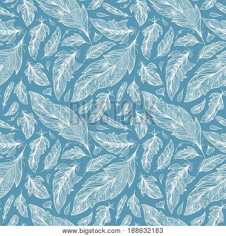 Seamless sketch texture with white ornamental feathers on blue background