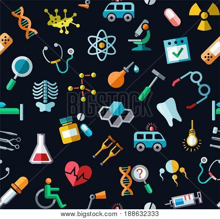 Medicine, colored background, seamless, black, vector. Colored icons medical services and instruments on a black field. Vector background.
