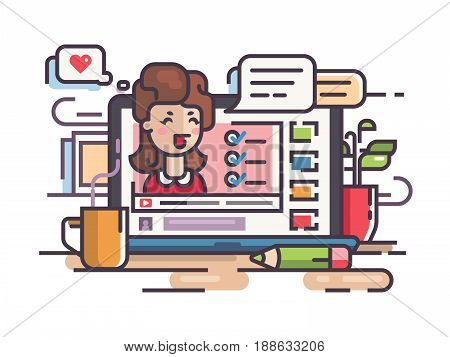 Blogger girl writes articles and videos for blog. Vector illustration
