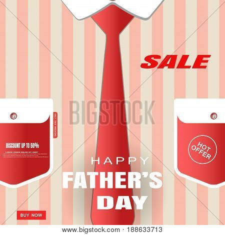 Vector poster of Happy Father's Day sale with striped shirt pockets with button red tie and text.