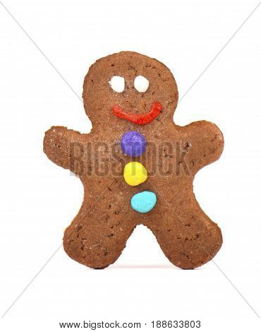 Gingerbread man isolated on white background. ginger snap