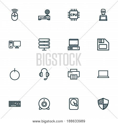 Hardware Outline Icons Set. Collection Of Floppy, Peripheral, Datacenter And Other Elements. Also Includes Symbols Such As Laptop, Router, PC.