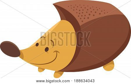 Cartoon Illustration of Cute Hedgehog Animal Character