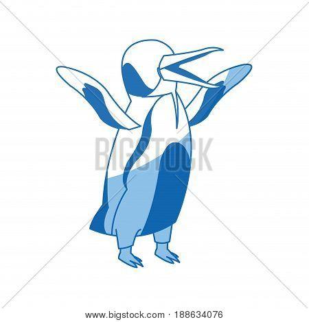 penguin emperor pole south bird animal vector illustration