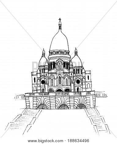 Basilica of Sacre Coeur in Montmartre, Paris. Hand-drawn sketch