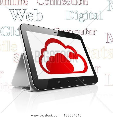 Cloud technology concept: Tablet Computer with  red Cloud icon on display,  Tag Cloud background, 3D rendering