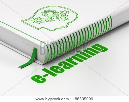 Studying concept: closed book with Green Head With Gears icon and text E-learning on floor, white background, 3D rendering