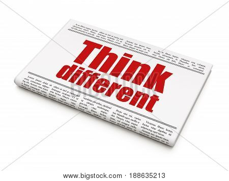 Education concept: newspaper headline Think Different on White background, 3D rendering poster