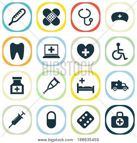 Medicine Icons Set. Collection Of Drug, Review, Claw And Other Elements. Also Includes Symbols Such As Medical, Spike, Remedy.