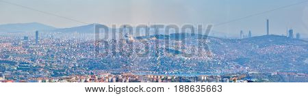 Asian part of Istanbul, the Uskudar shore, the aerial view. Shooting through the glass. Retro style
