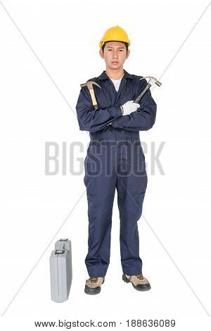 Young Handyman  Standing With His Tool Box