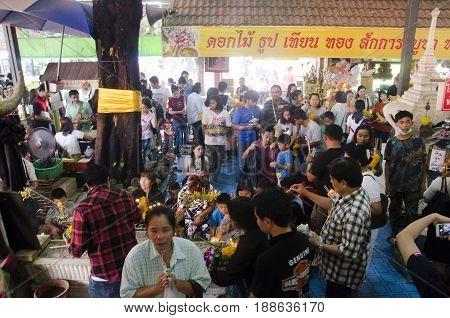 Thai People Respect Praying And Visit For Blessing From Luang Phor Pak Daeng Buddha Statue At Wat Pr