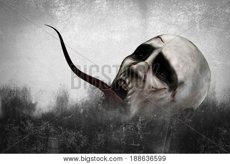 3d illustration of Scary monster in grunge background