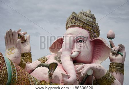 Ganesh Statue Pink Color Thai Called Phra Pikanet At Outdoor For People Visit And Respect Praying At