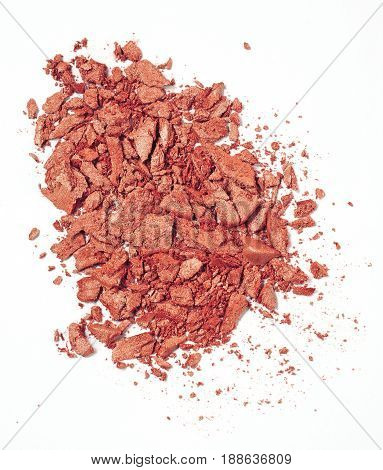 red crushed blush isolated over white background