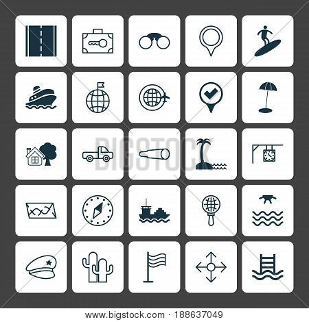Tourism Icons Set. Collection Of Basin Ladder, Route, Photo Camera And Other Elements. Also Includes Symbols Such As Plane, Mark, Umbrella.