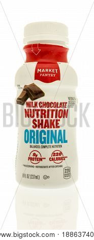 Winneconne WI - 13 May 2017: A bottle of Market Pantry milk chocolate nutrition shake on an isolated background.