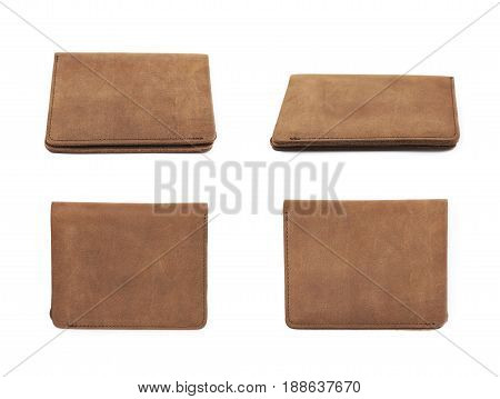 Flat foldable brown leather wallet isolated over the white background, set of four different foreshortenings