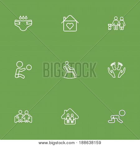 Set Of 9 Family Outline Icons Set.Collection Of Diaper, Man In Armchair, Boy And Other Elements.