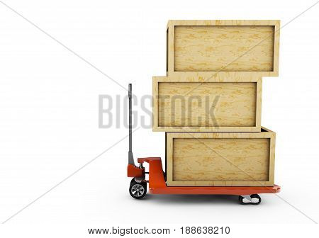 Pallet Jack and Plastic Pallet Set on White Background 3d render