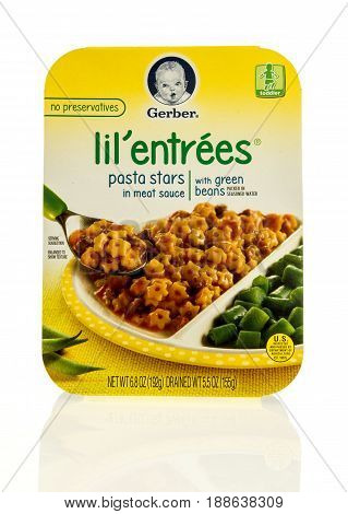 Winneconne WI - 13 May 2017: A package of Gerber Lil' entrees meal isolated background.