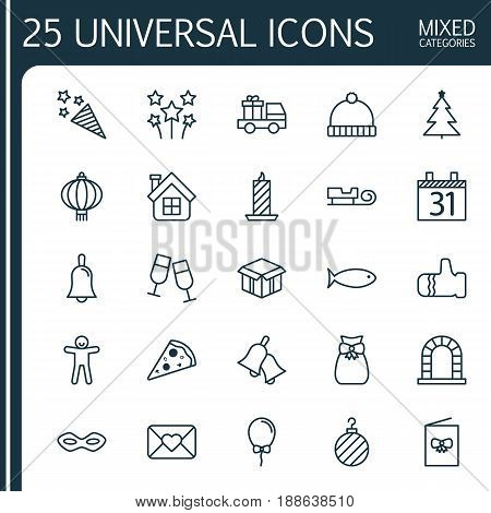 Happy New Year Icons Set. Collection Of Knitted Cap, Celebration Card, Handbell Elements. Also Includes Symbols Such As Celebration, Cap, Close.