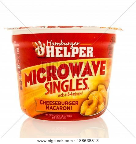 Winneconne WI - 13 May 2017: A package of Hamburger Helper microwave singles on an isolated background.