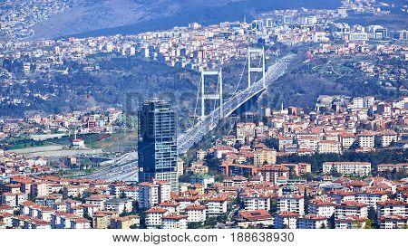 Fatih Sultan Mehmet Bridge. Istanbul, Turkey. Shooting through glass. Vintage style