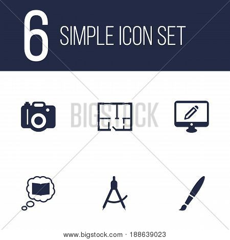 Set Of 6 Creative Icons Set.Collection Of Brush, Science, Photo And Other Elements.