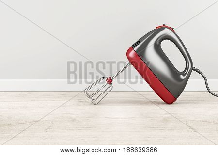 Handheld electric mixer in the kitchen, 3D illustration