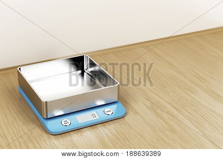Digital weight scale in the kitchen, 3D illustration