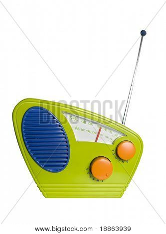 Modern pop art design radio isolated on white with clipping path
