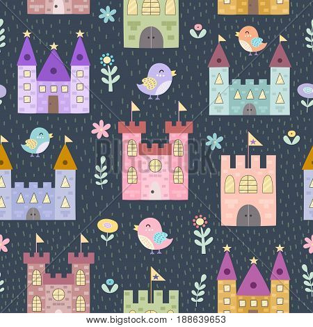 Fantasy castles and little birds seamless pattern. Vector texture in childish style great for fabric and textile, wallpapers, web page backgrounds, cards and banners design