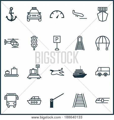 Shipping Icons Set. Collection Of Baggage, Car Vehicle, Ship And Other Elements. Also Includes Symbols Such As Anchor, Boat, Barricade.