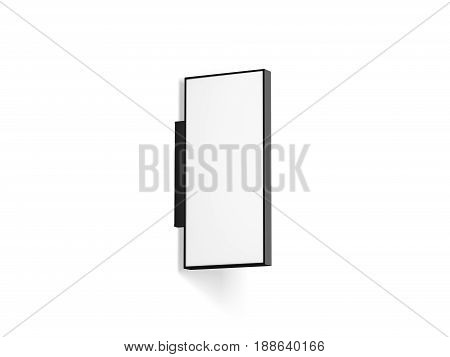 Blank rectangular store outdoor signage mock up isolated 3d rendering. Empty square light box mockup. Vertical shop lightbox. Street sign hanging on the wall. Signboard for logo presentation.