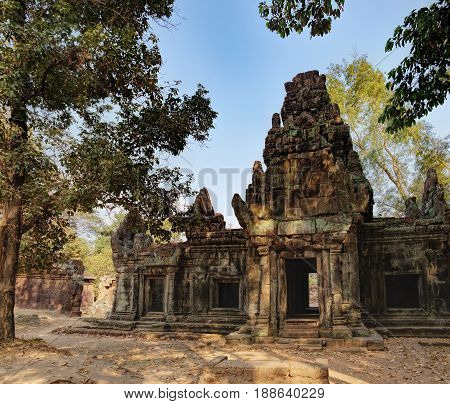 Ancient Khmer architecture is located inside the walled enclosure of the Royal Palace of Angkor Thom north of Baphuon, Siem Reap, Cambodia. World Heritage, famous Cambodian landmark