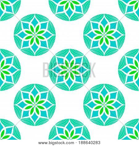Vector Seamless Colour Floral Mandala Pattern. Seamless pattern for your designs, invitation card, yoga, meditation, astrology and other wrapped projects. Pattern in swatches panel.